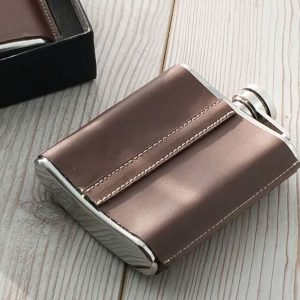 Leather Standing Seam Hip Flask