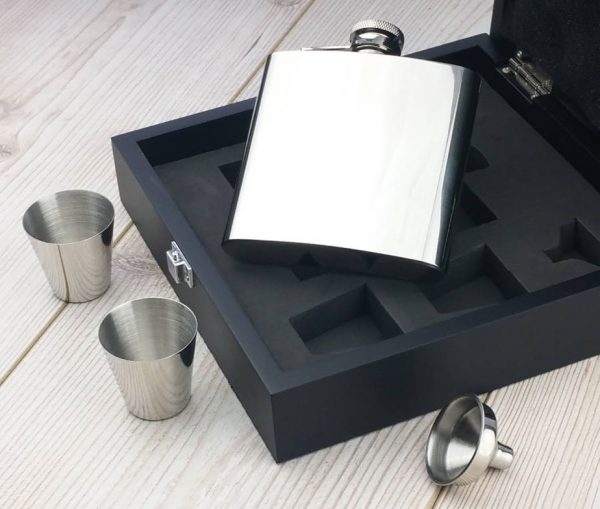 Personalised Luxury Hip Flask Presentation Set
