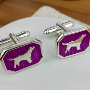 Silver And Cerise Dog Cufflinks with Luxury Presentation Box
