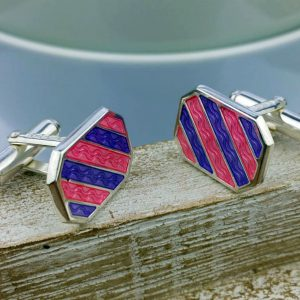 Silver And Enamel Cufflinks with Luxury Presentation Box