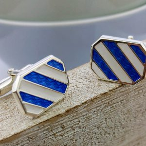 Silver Nautical Stripe Cufflinks with Luxury Presentation Box