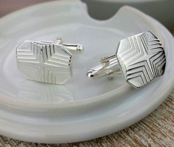 Silver Star Stepped Lozenge Cufflinks with Luxury Presentation Box