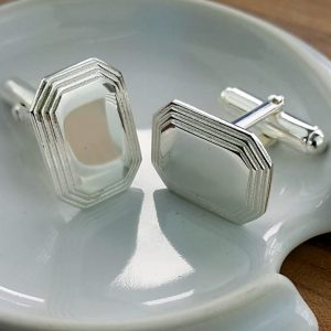 Silver Stepped Lozenge Cufflinks with Luxury Presentation Box