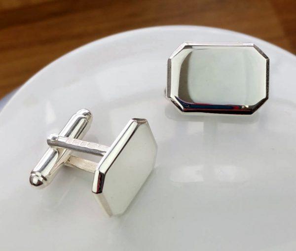 Personalised Silver Lozenge Shaped Cufflinks with Luxury Presentation Box