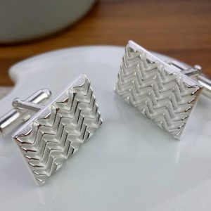 Silver Op Art Wave Cufflinks with Luxury Presentation Box