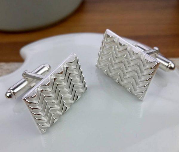 Silver Op Art Wave Cufflinks with Luxury Presentation Box