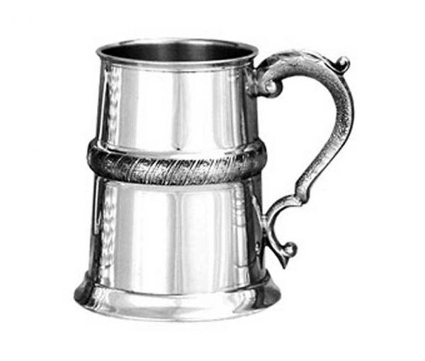 Personalised Medieval Banded Pewter Tankard