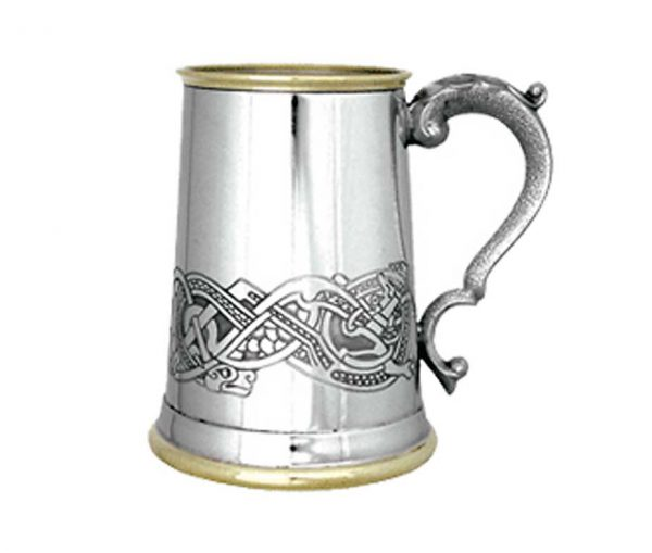 Personalised Celtic Pewter Tankard With Brass Detail