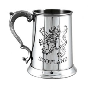 Personalised Scottish Pewter Tankard with Etched Lion