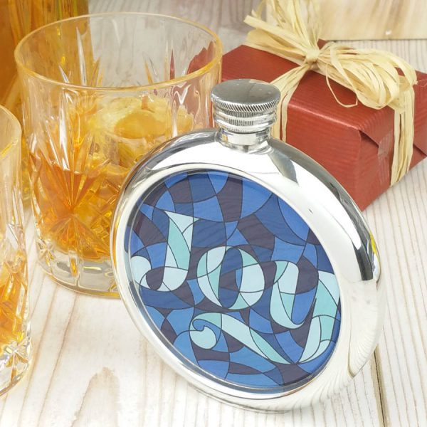 Personalised Stained Glass Joy Picture Hip Flask with Presentation Box