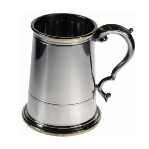 Personalised Polished Pewter Tankard with Brass Detailing
