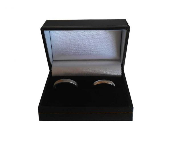 Black Flip Top Double Ring Box