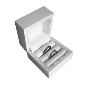 White Flip Top Double Wedding Ring Box