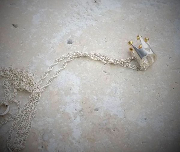 Silver And Gold Princess Crown Necklace