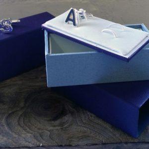 Silver And Blue Enamel Dog Cufflinks with Luxury Presentation Box
