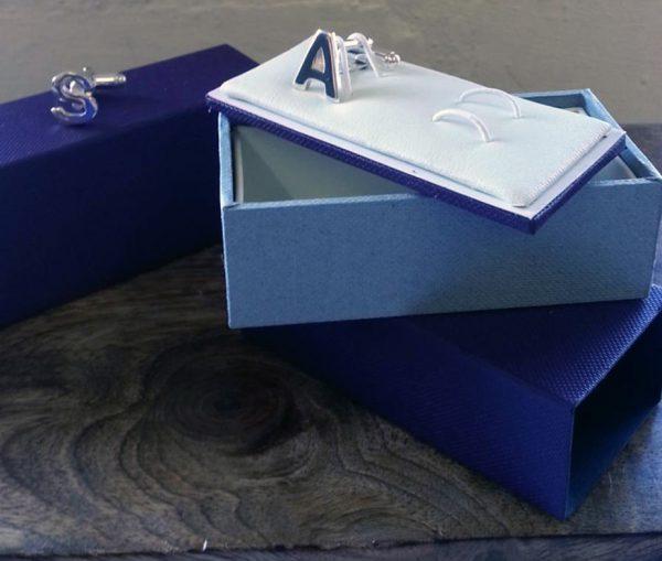 Silver Nautical Stripe Cufflinks with Luxury Presentation Box