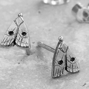 Anna's Delightful Silver Moth Stud Earrings