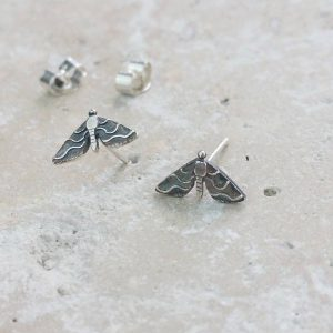 Anna's Majestic Moth Silver Stud Earrings