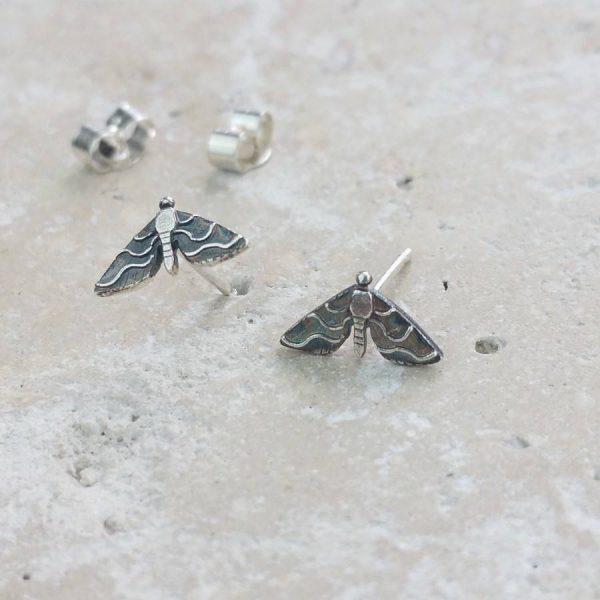 Anna's Majestic Moth Silver Stud Earrings