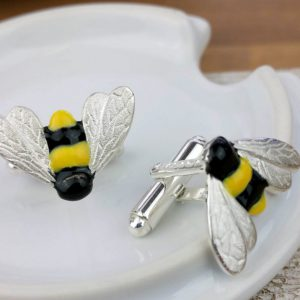 Silver Bumble Bee Cufflinks with Luxury Presentation Box