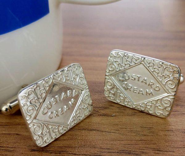 Silver Custard Cream Cufflinks