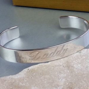 Personalised Men's Open Silver Cuff Bracelet