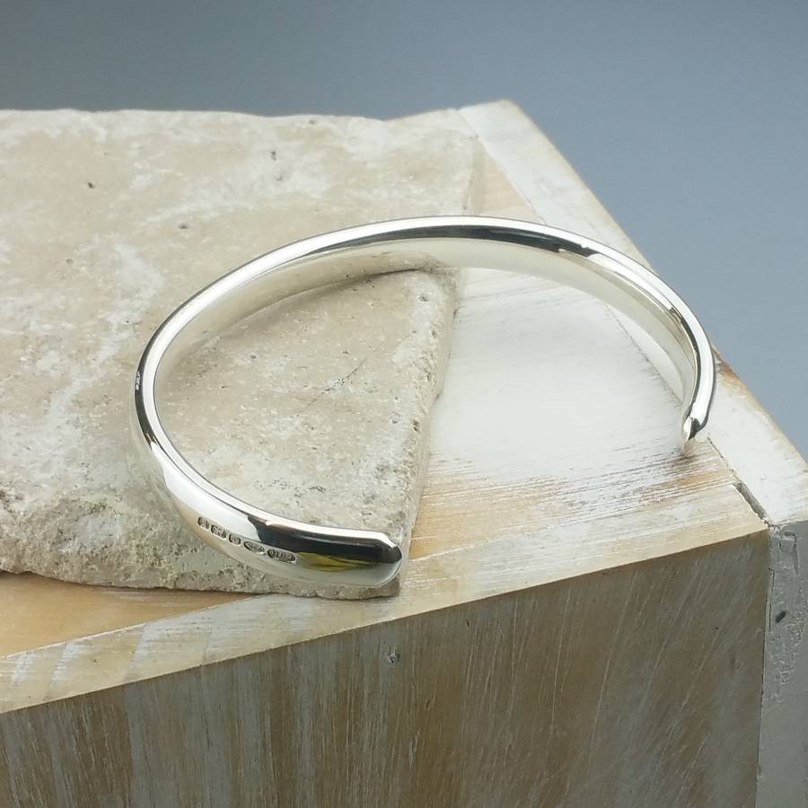 Curved Solid Silver Open Cuff Bracelet