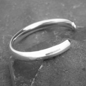 Men's Personalised Curved Solid Silver Open Cuff Bracelet