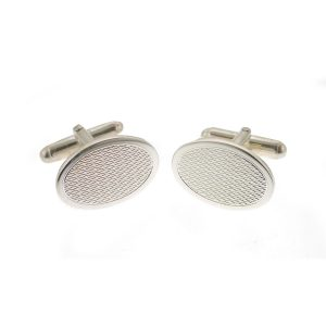 Engine Turned Oval Silver Cufflinks