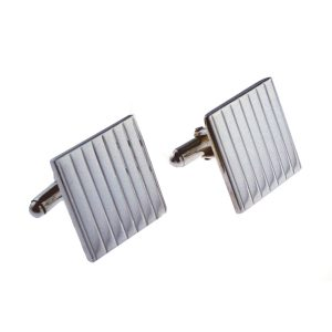 Stripe Textured Silver Cufflinks
