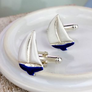 Enamelled Sterling Silver Sailing Boat Cufflinks