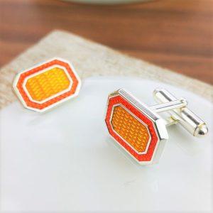 Boogie Nights Silver And Orange Enamel Cufflinks