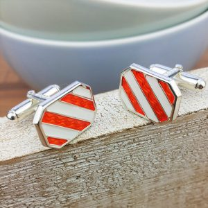 Silver And Enamel Stripe Cufflinks