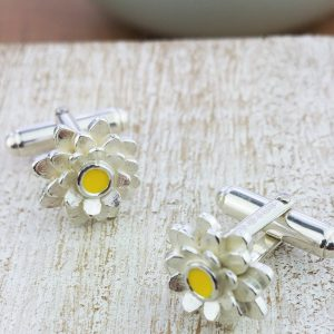 Silver And Enamel Daisy Flower Cufflinks