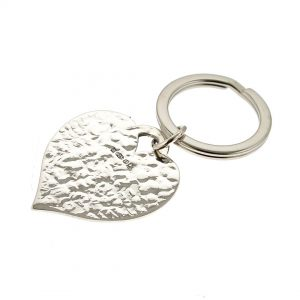 Personalised Silver Heart Keyring With Hammered Texture