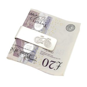 Personalised Streamlined Silver Bicycle Money Clip
