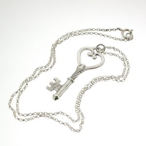 "Silver Heart Key With 18"" Silver Chain"
