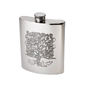 Personalised 6 oz Tree of Life Tree Pewter kidney Hip Flask
