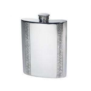 Personalised 6 oz Vertical Celtic Bands Pewter Kidney Hip Flask